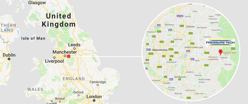 Pressure Tech is located in Glossop, near Manchester, UK