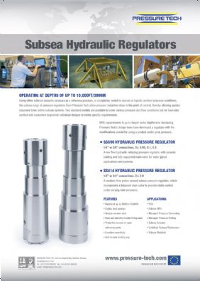 Pressure Tech's Hydraulic Subsea Regulators