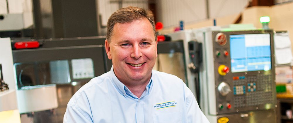 Pressure Tech Managing Director, Steve Yorke-Robinson, at our on-site UK manufacturing facility
