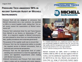 Pressure-Tech Received 98% in Michell Instruments Ltd Supplier Audit