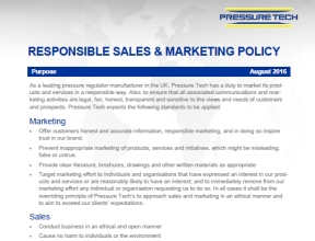 Pressure-Tech Sales and Marketing Policy