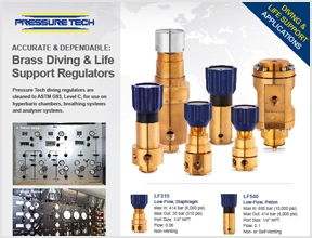 Pressure Tech Brass Regulators for Diving and Life Support